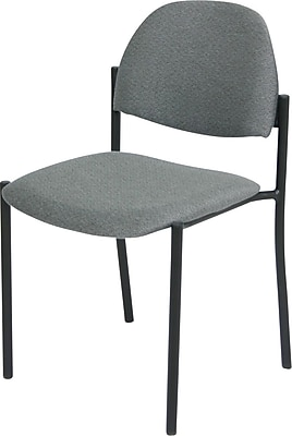 Global Custom Comet Stacking Reception Chair without Arms, Premium Grade, Gray/Black 700365