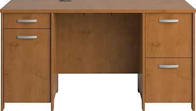 Bush Furniture Envoy 58W Office Desk with 2 Pedestals, Harvest Cherry (PR76360K)