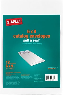 Staples EasyClose Wove Catalog Envelopes, 6