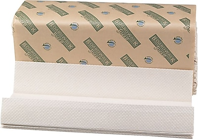 Boardwalk® Green C-Fold Towels, Natural White, 1-Ply, 10 1/8 x 13, 2,400/Ct