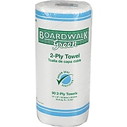 Boardwalk Green Household Roll Towels, 2-Ply, 11w x 9l, Natural White, 90 Sheets/Roll, 30 Rolls/Carton