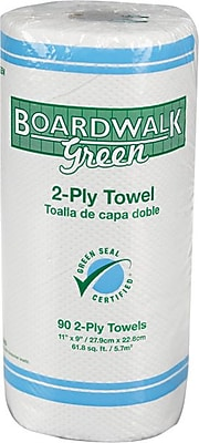 Boardwalk® Green Household Roll Towels, 2-Ply, 11w x 9l, Natural White, 90 Sheets/Roll, 30 Rolls/Carton