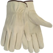 Crews® Economy Leather Driver Gloves, Medium, Cream