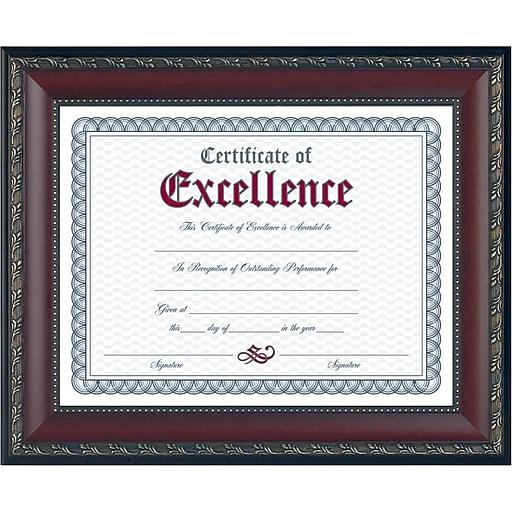 Dax World Class Document Frame w/Certificate, Walnut, 8 1/2\