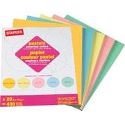 Staples® – Papier à copies de couleurs pastel variées, 8,5 x 11 po, rame/40