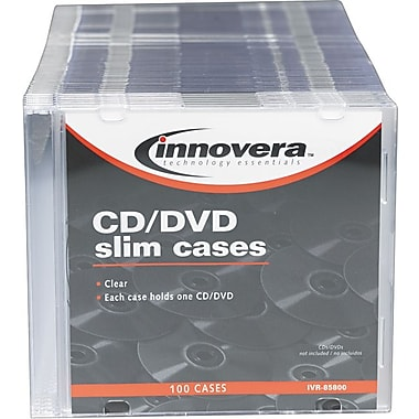 Innovera Thin Line Polystyrene CD/DVD Storage Cases, Clear, 100/Pk