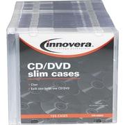 Innovera Thin Line Polystyrene CD/DVD Storage Cases, Clear, 100/Pk