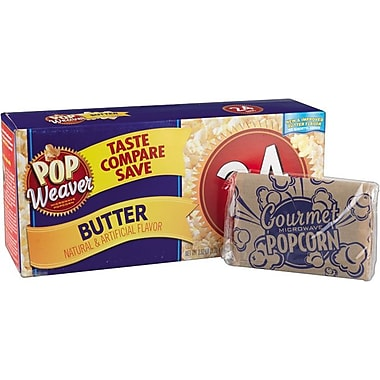 Pop Weaver Microwave Popcorn, Butter Flavor, 24 Bags/Box