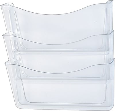 Unbreakable Expandable Three-Pocket Wall File Set, Letter Size, Clear