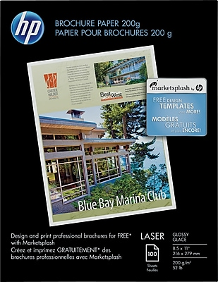 HP Brochure Paper, Glossy, 8 1/2