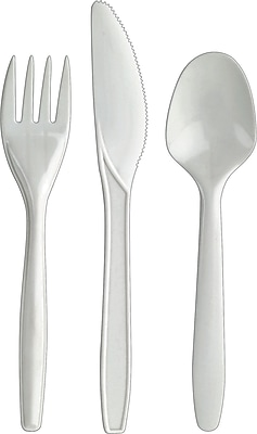 Sustainable Earth by Staples® Compostable Assorted Cutlery, Medium Weight, White, 360/Box