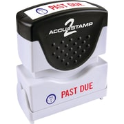 "Accu-Stamp2® Two-Color Pre-Inked Shutter Message Stamp, PAST DUE, 1/2' x 1-5/8"" Impression, Red/Blue Ink (035543)"