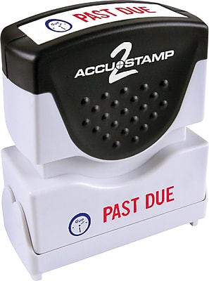 Accu-Stamp2® Two-Color Pre-Inked Shutter Message Stamp, PAST DUE, 1/2' x 1-5/8