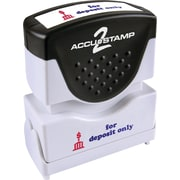 "Accu-Stamp2® Two-Color Pre-Inked Shutter Message Stamp, FOR DEPOSIT ONLY, 1/2"" x 1-5/8"" Impression, Red/Blue Ink (035523)"