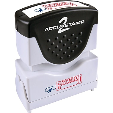Accu-Stamp2® Two-Color Pre-Inked Shutter Message Stamp, ENTERED, 1/2