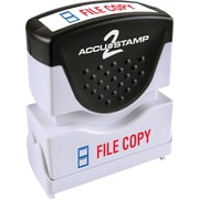 "Accu-Stamp2® Two-Color Pre-Inked Shutter Message Stamp, FILE COPY, 1/2"" x 1-5/8"" Impression, Red/Blue Ink (035524)"