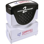 "Accu-Stamp2® Two-Color Pre-Inked Shutter Message Stamp, POSTED, 1/2"" x 1-5/8"" Impression, Red/Blue Ink (035521)"