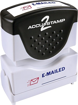 Accu-Stamp2® Two-Color Pre-Inked Shutter Message Stamp, E-MAILED, 1/2