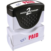 "Accu-Stamp® Two-Color Shutter Stamps, ""PAID"" with Microban Protection, Red/Blue Ink"