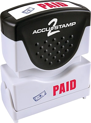 Accu-Stamp2® Two-Color Pre-Inked Shutter Message Stamp, PAID, 1/2