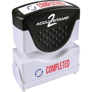 "Accu-Stamp® Two-Color Shutter Stamps, ""COMPLETED"" with Microban Protection, Red/Blue Ink"