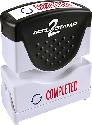 Accu-Stamp2® Two-Color Pre-Inked Shutter Message Stamp, COMPLETED, 1/2