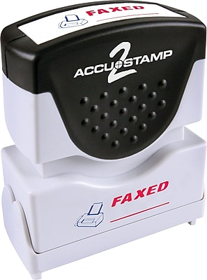 Accu-Stamp2® Two-Color Pre-Inked Shutter Message Stamp, FAXED, 1/2