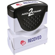 "Accu-Stamp2® Two-Color Pre-Inked Shutter Message Stamp, RECEIVED, 1/2"" x 1-5/8"" Impression, Blue/Red Ink (035537)"