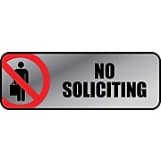 """Cosco® Brushed Metal Policy Signs, """"No Soliciting"""", 3""""x 9"""" (098208)"""