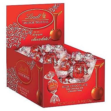 Lindt LINDOR Chocolate Truffles, Milk Chocolate, 60 Truffles/Box