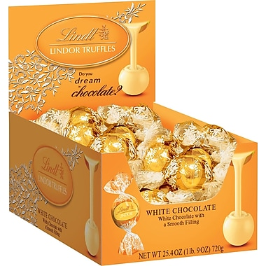 Lindt LINDOR Chocolate Truffles, White Chocolate, 60 Truffles/Box