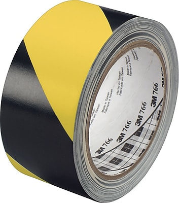 3M™ #766 Striped Vinyl Safety Tape, Black/Yellow, 3