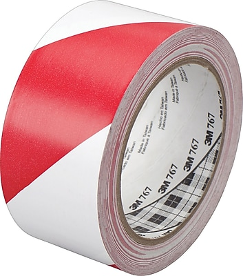 3M™ #767 Striped Vinyl Safety Tape, Red/White, 3