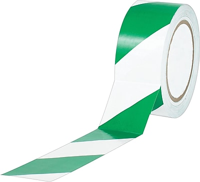 Industrial Vinyl Safety Tape, Green/White Striped, 3