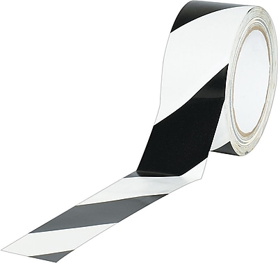 Industrial Vinyl Safety Tape, Black/White Striped, 3