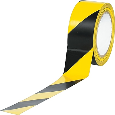 Industrial Vinyl Safety Tape, Black/Yellow Striped, 2