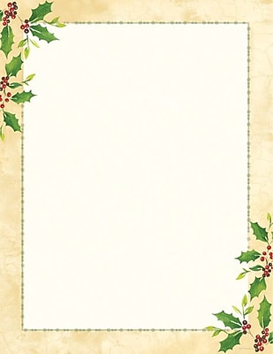 Great Papers® Holiday Stationery Falling Holly, 80/Count