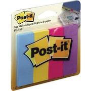 Post-it® - Marqueurs de pages, couleurs variées, 1 po x 3 po, bloc/50, paq./4