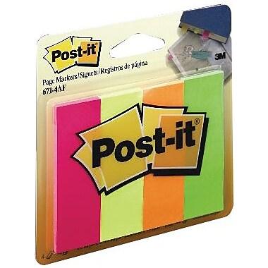Post-it® - Marqueurs de pages, 671-4AF, couleurs fluorescentes variées, 1 po x 3 po, bloc/50, paq./4