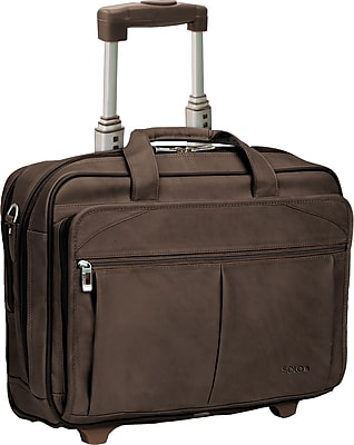 Solo® Full Grain Leather Rolling Laptop Case, Espresso, 15.6