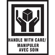 """International Safe Handling Label, """"Handle with Care"""", Bilingual, 3"""" x 4"""", 500/Roll"""