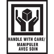 Étiquettes internationales de manutention spéciale, « manipuler avec soin », bilingue, 3 po x 4 po, 500/rouleau