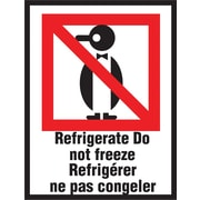 "International Safe Handling Label, ""Refrigerate Do Not Freeze"", Bilingual, 3"" x 4"", 500/Roll"