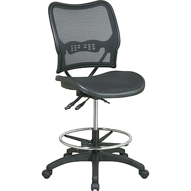 Space AirGrid Mid-Back AirGrid Mesh Drafting Stool, Armless, Black