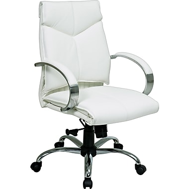 Office Star™ Leather Executive Mid-Back Chairs with Chrome