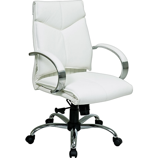 Remarkable Office Star Leather Executive Mid Back Chair White Spiritservingveterans Wood Chair Design Ideas Spiritservingveteransorg