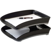 "Storex Iceland Recycled Stackable Trays, Front-Load, Letter, Black, 2 1/2""H x 9 3/4""W x 13 1/2""D, 2/Pk"