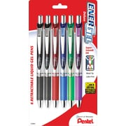 Pentel® EnerGel® RTX Retractable Gel Pens, Medium, Black & Assorted Ink Colors, 6/Pack