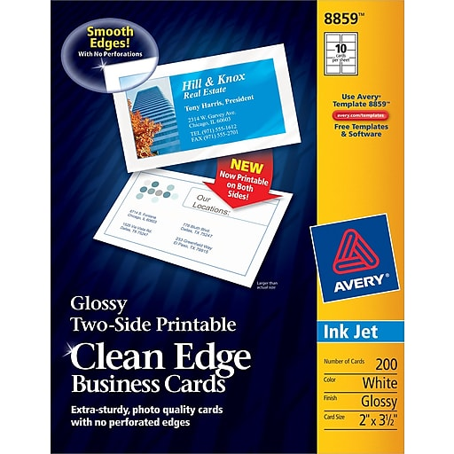 Avery Clean Edge Inkjet Two Side Printable Business Cards White