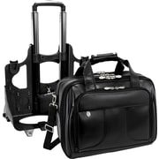 McKlein Chicago, Detachable -Wheeled Laptop Overnight w/ Removable Briefcase, Top Grain Cowhide Leather, Black (83585)